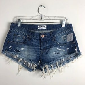 One Teaspoon x Free People Distressed Jean Shorts